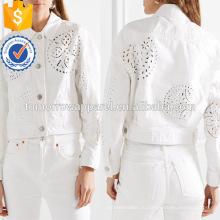 Белый Denim хлопок вышитые длинный рукав Весна куртка Производство Оптовая продажа женской одежды (TA0002J)
