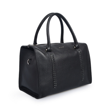 Mittlere Ledertasche Boston Bag Black Satchel