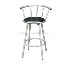 Metal PVC Bar Chair, Swivel Backrest Bar Chair Steel Tube
