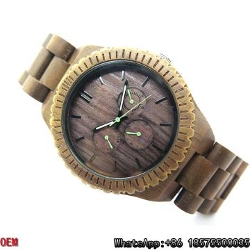 Relojes de cuarzo del reloj de madera de nuez negra de alta calidad Hl17