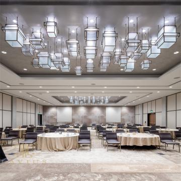 Gran candelabro de restaurante led de cristal de cubo de estilo chino