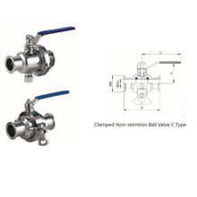 Válvula de bola sin retención sanitaria de acero inoxidable