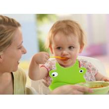 Babero de bebé de silicona 100% de grado alimenticio personalizado FDA / LFGB