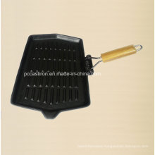 Cast Iron Skillet Size 35X21cm with Wooden Handle