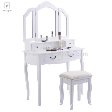 Vanity Table Set White Mirror Drawers Makeup Dressing Table with Cushioned Stool