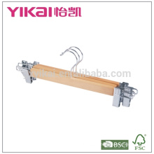 Eucalyptus wooden trousers hanger with metal clips