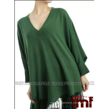 oversize cashmere knitted poncho with tassels