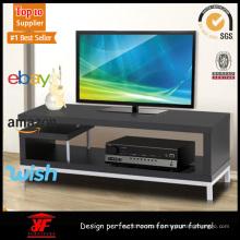 Convenient Corner Black Small TV Cabinet with Shelves