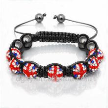 Joyería de moda joyas de diamantes de la bandera británica pulsera Shamballa