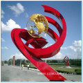 Chinese Red Large Stainless Steel Garden Sculpture
