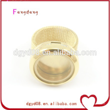Anel de dedo de aço inoxidável de flutuação quente do medalhão da venda, jóia dos anéis para mulheres