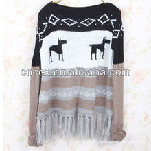 13STC5354 christmas sweater tassels embellished christmas jumper sweater