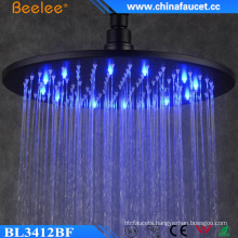 China Bathroom Round Black Water Pressure LED Shower Head
