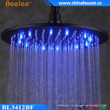 Chine Pommeau de douche noir rond de pression de l'eau de la salle de bains
