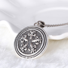 Fashion round coin tag style cross symbol with zircon pendant