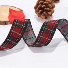 Cheap custom 100%polyester printed elastic red plaid ribbon
