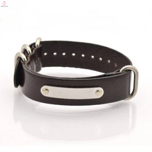 2017 Wholesale Stainless Steel Mens Leather Bracelet