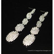 Nouvelle promotion nuptiale élégante en argent pendentif boucles d'oreille en cristal