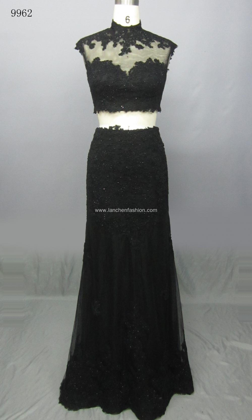 Sleeve Beaded Pearls Long Prom Evening Dress