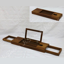 Teak Expandable Bathtub Water-resistant Tray Caddy