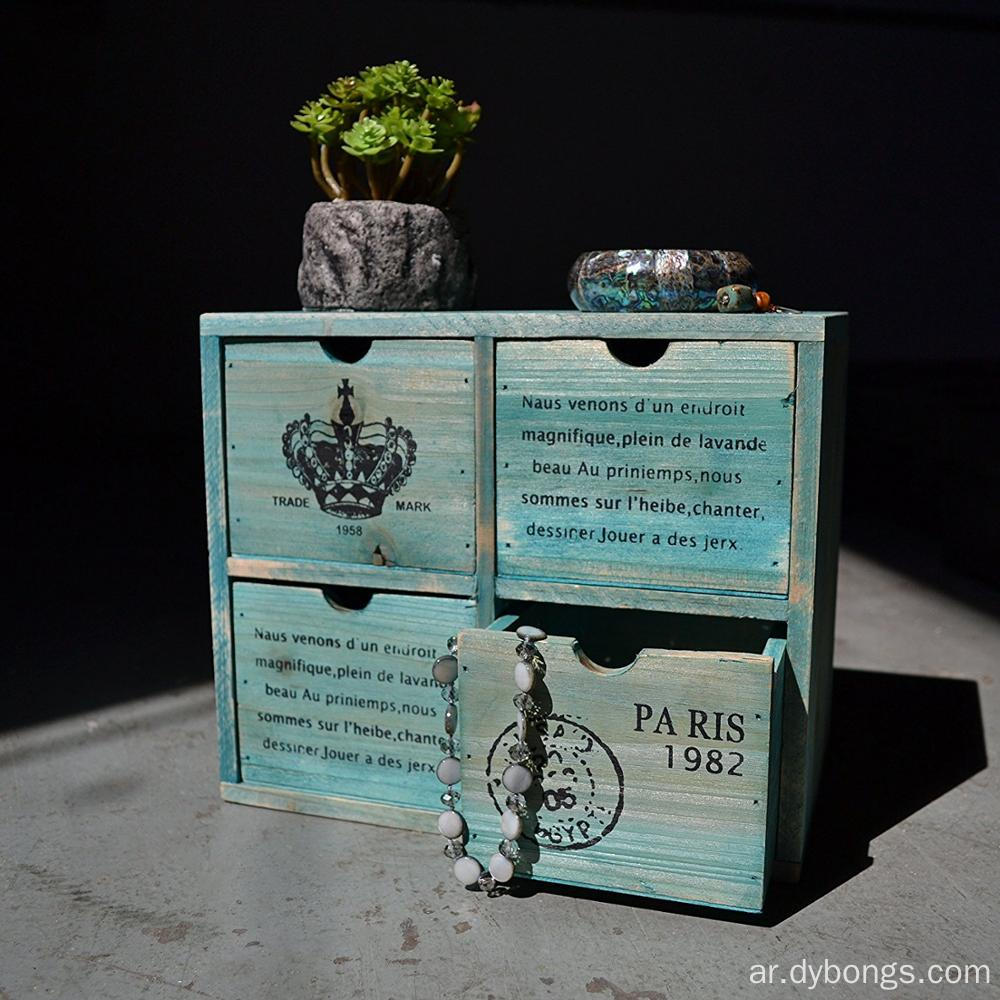 Vintage Design Rustic Turquoise pine wood 4 Drawer Jewelry Organizer Chest