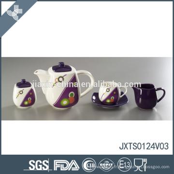Prix de vente en gros décalque de point de vague design fine Ensemble de thé à la nouvelle arrivée à la porcelaine
