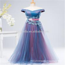 Purple Long Lace Cap Sleeve Modern Style Em Stock Chiffon vestido de dama de honra