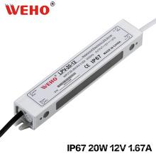 IP67 voltaje constante 20W 1.65A LED Driver 12V
