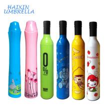 Customized New Design Fashion Shape Wholesale Cheap UV 3 Fold Wedding Souvenire Gift Umbrella with Wine Bottle for Promotion