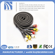 24K plaqué or 3 RCA à 3 RCA composite stéréo câble vidéo câble AV pour STB / TV / ordinateur / haut-parleur / amplificateur