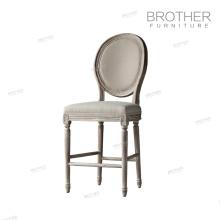 Tissu de style américain de haute qualité la jambe de bois salle à manger chaise de bar français