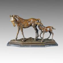Animal Bronce Escultura Caballo Madre-Hijo Decoración Estatua De Latón Tpal-051