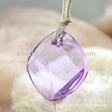 Pendentif en cristal transparent en cristal violet à chaud