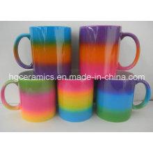 Tasse de couleur d'arc-en-ciel, tasse de revêtement de couleur d'arc-en-ciel