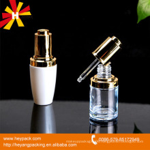 luxury glass dropper bottle 30ml with gold top and spray white color