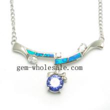 Opale argent Collier bijoux (YN00009)