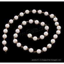 2015 Gets.com бисера цепи ожерелье конструкций, ABS пластиковые перлы из бисера цепи, с латунью