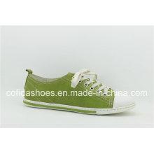 Neuestes Lace-up Frischer grüner flacher beiläufiger Frauen-Schuh