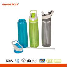 2015 Bouteille d'eau de sport plastique populaire avec paille et poignée