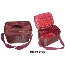 bolso impermeable de la belleza de alta calidad con múltiples bolsillos en la parte inferior de la bolsa y la tapa