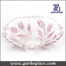 Rose Color Tulip Flower Glass Fruit Bowl