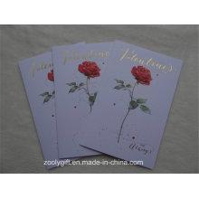 Flor de Rosa gravada Folha de Ouro Cartões de papel de arte com Envelop