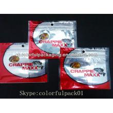 Gancho de pesca sacos de plástico Por Atacado com ziplock / folha de alumínio isca de pesca sacos de embalagem / três lado selar sacos de zíper