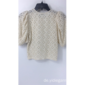Cream Crochet Bubble Sleeve Top