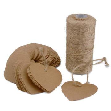 Étiquettes pour cadeaux en papier Kraft de forme personnalisée en forme de cœur 100