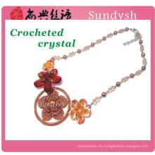 declaración de punto vintage newes moda multicolor ganchillo hecho a mano de cristal hawaiano collar de flor artificial fornido grande