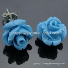 Boucles d'oreille en forme de fleur en rose synthétique de 10 mm en érable EF-008