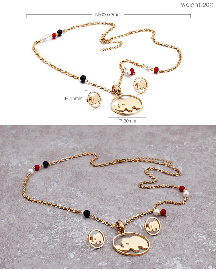 Fashion cartoon animals thailand elephant jewelry set