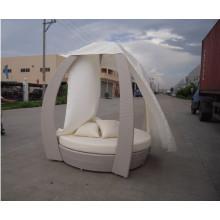 Сад Pe ротанга кровать открытый ротанга металлических шезлонге