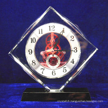 High Grade Crystal Glass Square Clock Office Decoration
